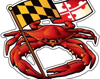 Maryland Red Crab Banner Sticker
