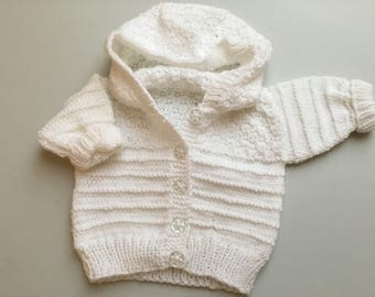 Baby white hoodie jacket in super soft baby wool . Baby shower baby gift
