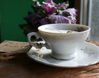 Coffe Cup of vintage-candle in coffee cup-candles in 100% soy wax-porcelain-vintage mugs-Vegan Candles