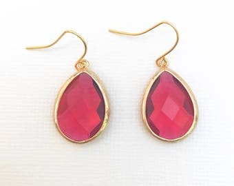 Garnet Gemstone Teardrop Earrings, Siam Gemstone, January Birthstone Earrings, Ruby Earrings, Red Gemstone Drop Earrings, Dangle Earrings