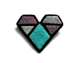 Geometric felt heart brooch