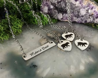 Mama Bear Necklace Set | Bar Necklace | Family Jewelry | Simple Necklace | Short Length Necklace | Stainless Steel Necklace | Hypoallergenic
