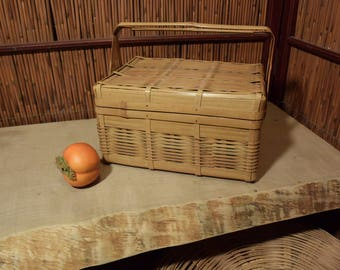 Vintage Japanese Bamboo Box / Basket/ Case with Handle