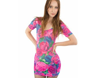 90s Mesh Mini Dress 90s Clubwear 90s Rave Dress Sheer Mini Dress Grunge Mini Dress 90s Grunge Mini Dress Floral Mesh Dress Hot Pink Barbie