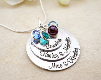 Hand stamped grandmothers necklace! Grandmas necklace! Personalized grandma gift - Grandma Necklace - Gift for Grandma - Mothers Necklace