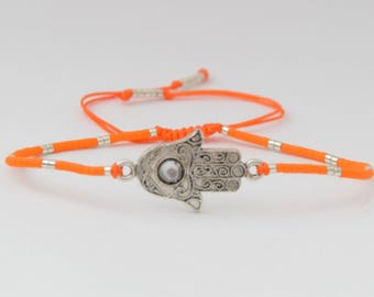 Khamssa orange and silver bracelet