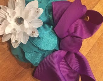 This is a Teal, Purple and White Barrette or Headband of your choice. Made by hand with love. Please check out my other listings for combine