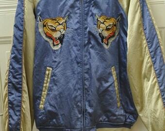 Vintage Japanese Sukajan Embroidered Tiger Souvenir Jacket from Yokosuka