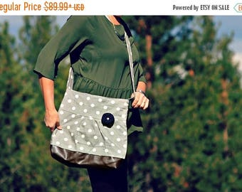 CHRISTMAS SALE Conceal Carry Purse, Medium Messenger Bag, Grey Polka Dot, Conceal Carry Handbag, Concealed Carry Purse, Conceal and Carry, G