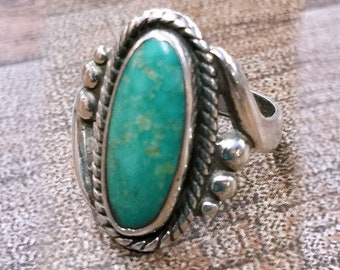 Native American Turquoise + Sterling Silver Ring Size 5 by Bell Trading Co.