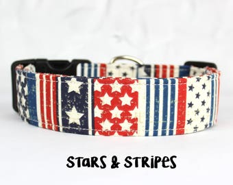 4th of July Dog Collar, Patriotic Collar, Red White and blue Collar, Stars and Stripes (Upgrade to Metal Buckle or Martingale)