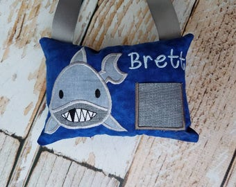 Personalized Tooth Fairy Pillow w/Front Pocket - Boy Girl Tooth Pillow - Shark