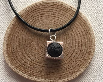 Essential Oil Diffuser Necklace Aromatherapy Black Lava Stone Diffuser Jewelry Black Leather Necklace Silver Framed Bead Silver Snake Chain
