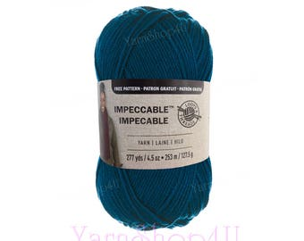 TEAL. Blue Green Color. Loops and Threads Impeccable large size 4.5oz ball. 100% Acrylic Medium 4 (THIS, not the color Michael's shows!)