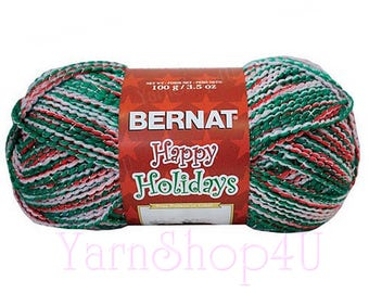 MERRIER MULTI, Red White Green with Silver Threads. Bernat Happy Holidays is medium weight 3.5oz Acrylic Holiday Yarn, Variegated Christmas