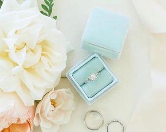 Ring Box in Vintage Blue Velvet, Light Blue Grosgrain Ribbon For Engagements and Weddings, Vintage Style ST