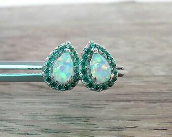 6x4 mm. Fire Green Opal Solid 925 Sterling Silver Stud Earrings, October Birthstone Earrings