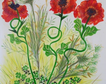 Art painting flowers / poppies/flowers floral red/nature / modern art / composition spring /botanique/ original painting.