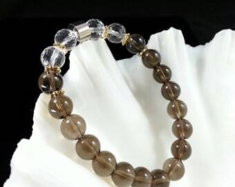 Smoky Quartz and Clear Quartz Bracelet -24k Gold Filled,8mm,Grade AAA,Smoky Quartz Jewelry,Clear Quartz 128 Faceted, Smoky Quartz Bracelet