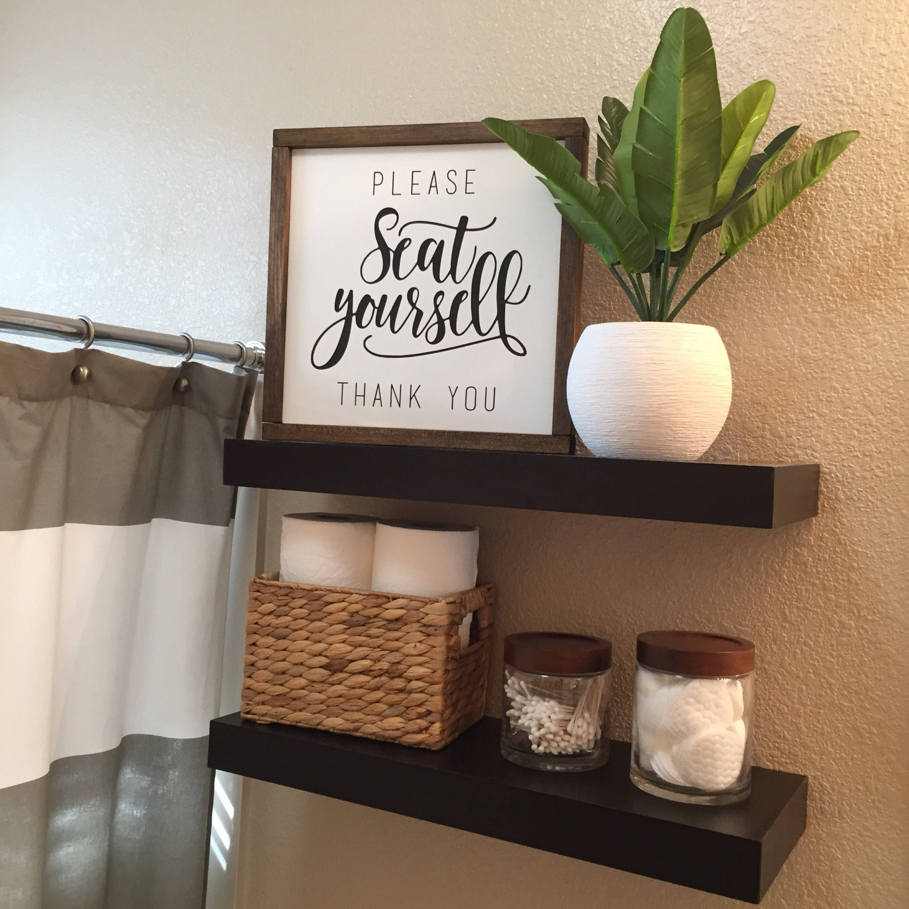 Please seat yourself bathroom sign framed wood sign for Bathroom decor rustic