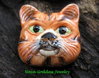 1 Inch Hand Carved Ox Bone & Hand Painted Cat Face , Jewelry Finding BN-146