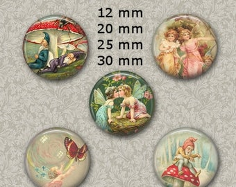 """80% off 4th of July Sale 12 mm, 20mm, 30 mm, 1 inch intage Fairies Digital Collage Sheet Round Images 1"""" Round Circles Bottle caps Pendants"""
