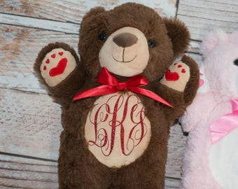 First Valentine's Day Stuffed Bear Personalized or Monogram Glitter Red Heat Transfer Vinyl