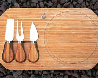 Royal Navy Crown and Anchor Cheese Board Service Set with Cheese Knives Bamboo Military Gift ME01