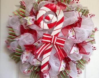 Candy Cane Christmas Handmade Deco Mesh Wreath