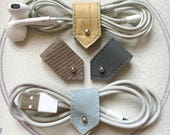 Cord Organiser | Leather Cord Holder | Cable Organizer | Earbud Organizer | Cable Tidy | Cord Keeper | iPhone Cable Holder | Sets of 2 or 4