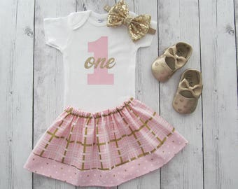 Pink and Gold First Birthday Outfit - twirl skirt, girl birthday, pink gold birthday, gold glitter, light pink gold, gold bow