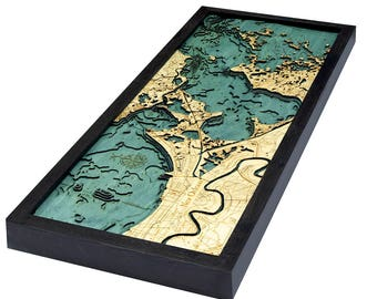 New Orleans Wood Carved Topographic Depth Map