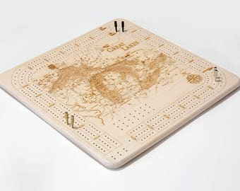 Great Lakes Topographic Cribbage Board