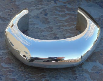 Thick Mexican Sterling Silver Heavy Cuff Bracelet - 70 Grams
