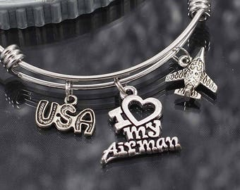 Air Force Bracelet, I love my Airman, military charm bracelet gift, air force jewelry, military bracelet with charms, bracelets for women