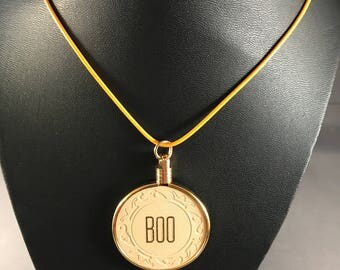 "Up-cycled vintage poker chip necklace - ""BOO"" initials.  A unique halloween accessory!"