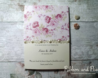Handmade Wedding Day Card. Special Friends Wedding Day Card. Vintage Rose style wedding day card For my 'Special Friends'