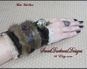 STeampunK wrist Cuff Neo Victorian FUR Industrial Pendant Watch GLASS ORB Leather Velvet Textile Steampunk Clothing by SweetDarknessDesigns