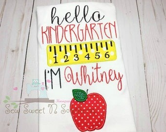 Hello Kindergarten l'm (name) embroidered shirt, Kindergarten shirt, First day of school shirt, School appliqued shirt.