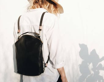 Leather Backpack, Hipster Backpack, Tote Backpack, Small Backpack, Woman Backpack, Gift for Her, Leather Black, Sustainable, CURVE BACKPACK