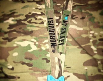 Military Nametape Lanyard w/ Bow & Rhinestones/Pearls: ANY BRANCH! (USMC, Army, Air Force, Coast Guard, Navy)