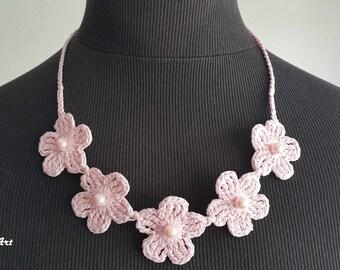 Crochet Necklace,Crochet Neck Accessory, Pale Pink, 100% Cotton.