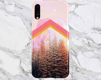Phone Case - iPhone X Case - iPhone 8 - Protective Slim - Galaxy s8 Case - Google Pixel 2 Case - Faded Pink Mountain Chevron x Fall Forest