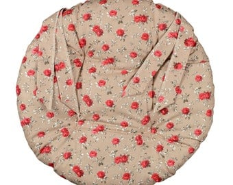 """Round Chair pad D.40cm """"Red flowers"""""""