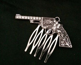 Silver Metal Hair Comb With Large Jeweled Silver Metal Revloverl Gun