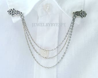 Hamsa Hand collar pins, collar chain, collar clips, hamsa jewelry, sweater clip, hand of fatima, layering, boho yoga Bohemian gift for her