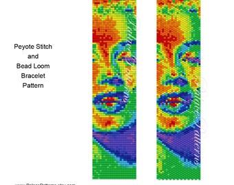 Marilyn Colorized Bead Loom or Peyote Stitch Bracelet Pattern - Marilyn Monroe Face Delica Bead Pattern