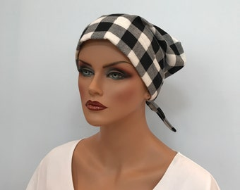 Krystal Women's Flannel Head Scarf, Cancer Hat, Chemo Scarf, Alopecia Head Cover, Head Wrap, Headwear for Hair Loss. Black and White Plaid