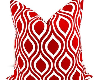 SALE RED Pillow. Outdoor Indoor Pillow cover. Red and White.1 piece.  Stain dirt resistant. Cushion Cover. Select your size
