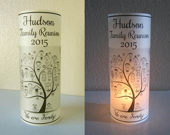 12 Personalized Family Reunion Party Centerpiece Table Decoration Luminaries, Tree, Heart